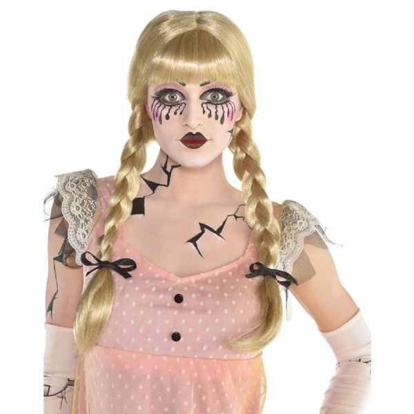 Adults Creepy Doll Braided Wig Adult Costume Ladies Halloween Fancy Dress Outfit